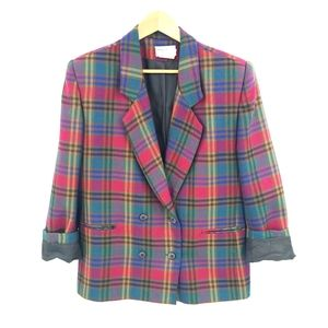 Vintage Wool Plaid Double Breasted Blazer